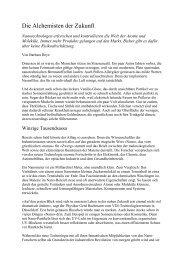 Die Alchemisten der Zukunft - ethik im diskurs