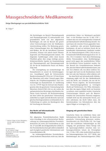 Massgeschneiderte Medikamente - ethik im diskurs