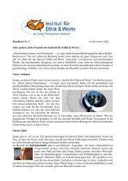 Rundbrief Nr. 1 im Dezember 2006 Sehr geehrte, liebe ... - Ethikinstitut