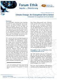 Climate Change: An Evangelical Call to Action - Ethikinstitut