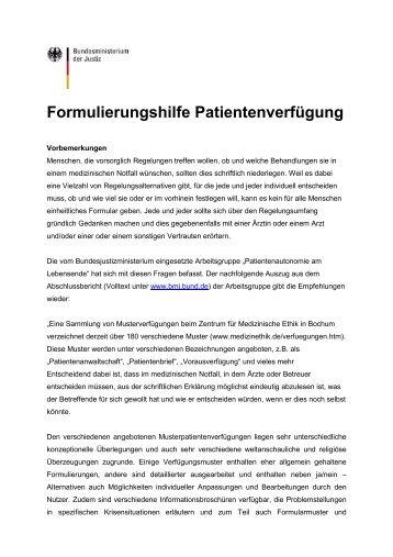 formulierungshilfe patientenverfgung ethikinstitut - Muster Patientenverfugung