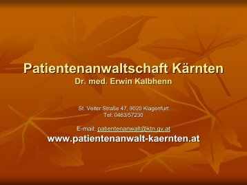 Die Patientenverfügung - Ethikkommission des Landes Kärnten