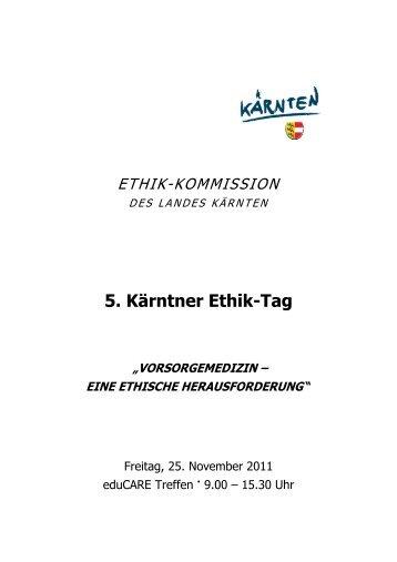 5. Kärntner Ethik-Tag - Ethikkommission des Landes Kärnten