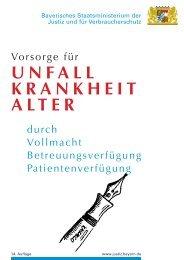 Vorsorge für Unfall, Krankheit und Alter - Bayern