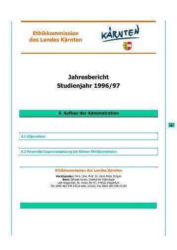 Aufbau der Administration - Ethikkommission des Landes Kärnten