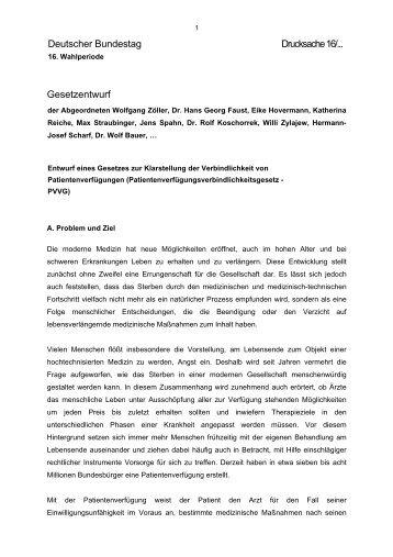Gesetzentwurf der Bundestagsabgeordneten Zöller, Faust u.a.