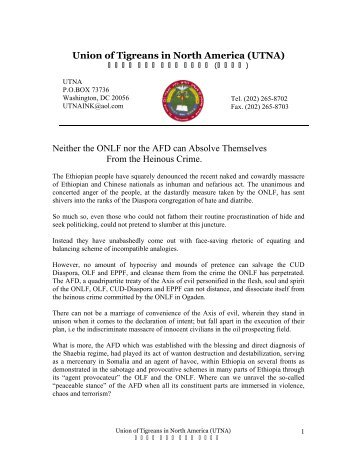 Union of Tigreans in North America (UTNA) - Ethiopian Observer