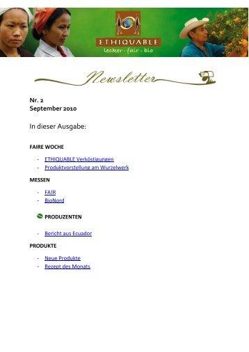 Newsletter Nr. 2, September 2010 - ETHIQUABLE Deutschland