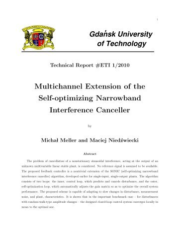 Multichannel Extension of the Self-optimizing Narrowband ...