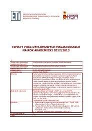 tematy prac dyplomowych magisterskich na rok akademicki 2012/2013