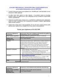 Tematy prac dyplomowych magisterskich 2009