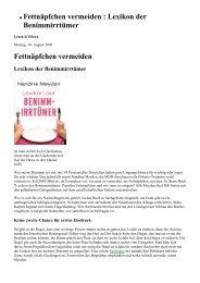 Fettnäpfchen vermeiden - Lexikon der ... - Etikette und mehr