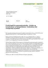 Forskningsfil for generasjonsstudier - De nasjonale forskningsetiske ...