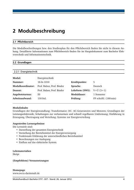 Elektrische Energietechnik - Fachbereich Elektrotechnik und ...
