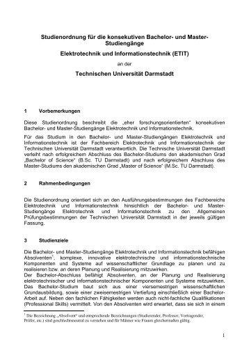 Studienordnung - Fachbereich Elektrotechnik und ...