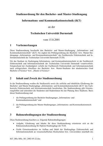 Studienordnung - Fachbereich Elektrotechnik und Informationstechnik
