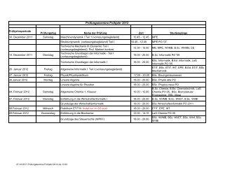 Prüfungstermine Frühjahr 2012 - Fachbereich Elektrotechnik und ...
