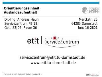 Infoveranstaltung - Fachbereich Elektrotechnik und ...