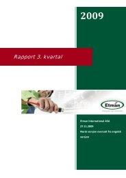 3. kvartalsrapport 2009 - Etman Distribusjon
