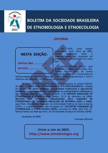 Boletim 4 JUL_SET_2010 - Sociedade Brasileira de Etnobiologia e ...