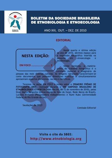 Boletim 5 OUT_DEZ_2010 - Sociedade Brasileira de Etnobiologia e ...