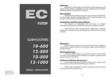 SUBWOOFERS - Eton GmbH