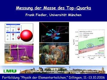 Messung der Masse des Top-Quarks