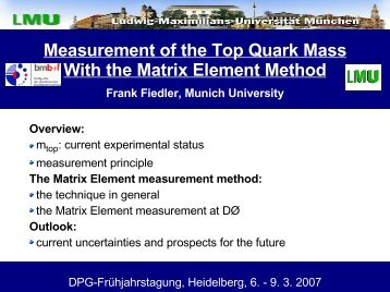 Measurement of the Top Quark Mass With the Matrix Element Method