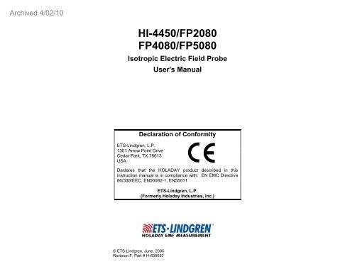 ETS-Lindgren HI-2200 Survey Monitor Windows 7 64-BIT
