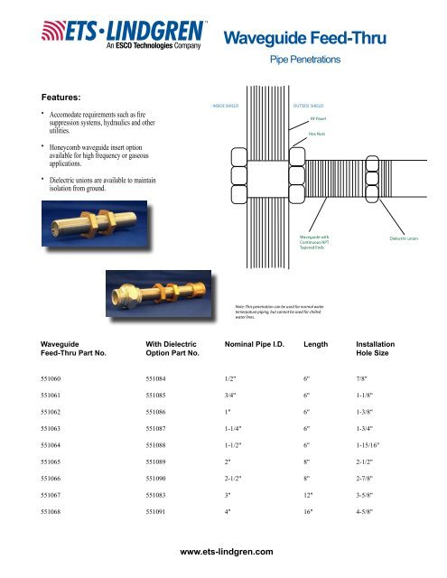 Waveguide Feed-through (Pipe Penetrations) - ETS-Lindgren