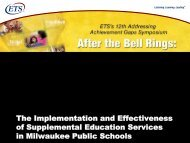 The Implementation and Effectiveness of Supplemental ... - ETS