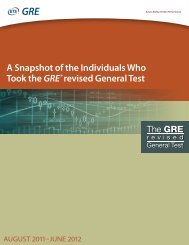 A Snapshot of the Individuals Who Took the GRE®revised ... - ETS