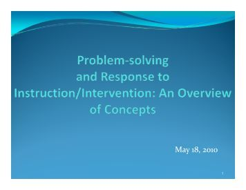 Problem Solving in RTI (PDF) - ETS