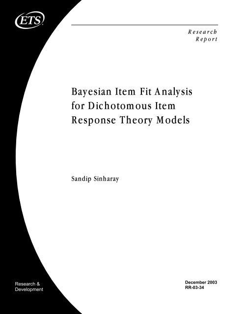 Bayesian Item Fit Analysis for Dichotomous Item Response ... - ETS