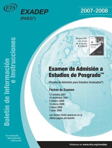 Boletín de Información e Instrucciones - ETS