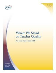 Where We Stand on Teacher Quality - ETS