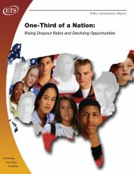 One-Third of a Nation: Rising Dropout Rates and Declining ... - ETS