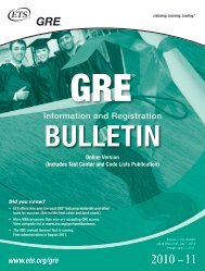 2010-2011 GRE Information and Registration Bulletin - ETS