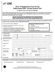Registration Form for the Paper-based GRE Revised - ETS