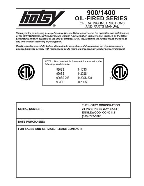 hotsy wiring diagram hotsy 900 1400 oil fired ets company pressure washers and  ets company pressure washers