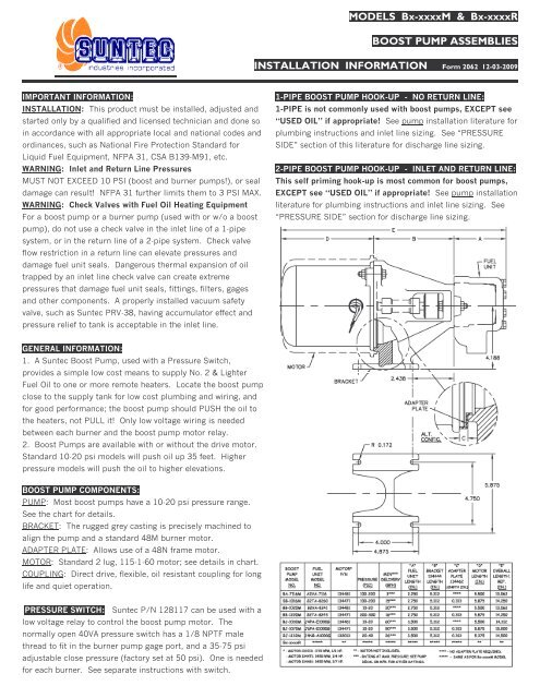 Form 2062 - Install Info, Boost Pumps Bx-xxxxM,R, In