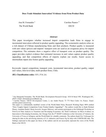 Does Trade Stimulate Innovation? Evidence from Firm-Product Data ...