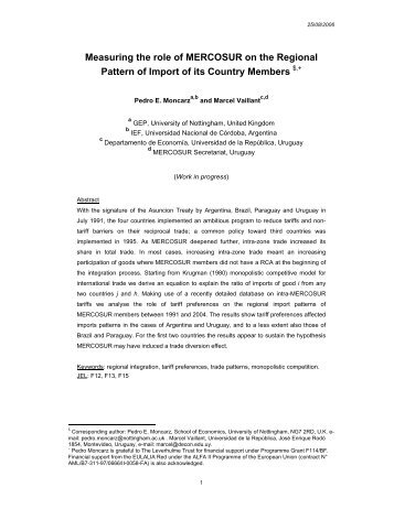 Measuring the role of MERCOSUR on the Regional Pattern of Import ...