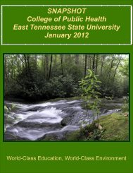 SNAPSHOT College of Public Health East Tennessee State ...