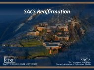 SACS Reaffirmation - East Tennessee State University