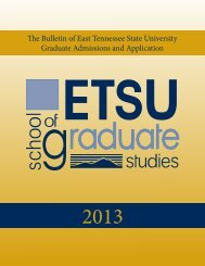 The Graduate Admissions and Application Bulletin - East Tennessee ...