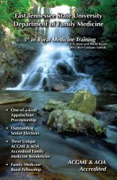 Electives in Family Medicine Brochure - East Tennessee State ...