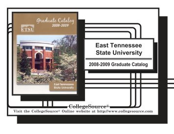 Graduate Catalog - East Tennessee State University