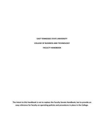 CBAT Faculty Handbook - East Tennessee State University