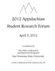 2012 ASRF Program Book - East Tennessee State University